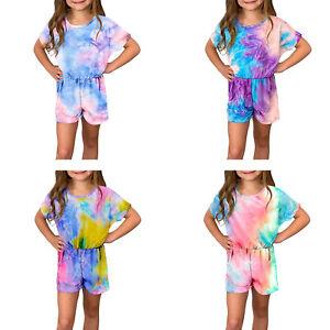Girls Cotton Jumpsuit Tie Dye Rompers Short Bodysuits Pants Summer Casual Wear