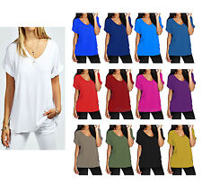 Womens Baggy Fit V Neck Top Ladies Turn Up Loose Batwing Oversized Tee Size 8-26