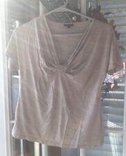 Set Of 2 Talbots Medium Tan Brown Silk Ruched Rayon Short Sleeve Shirts Tops