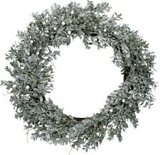 Gisela Graham Christmas Silver Glitter Leaf Wreath With Pearl Berries Decoration