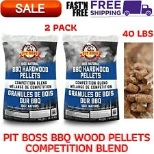2 Pack Pit Boss BBQ 100% All-Natural Wood Pellets Competition Blend,40 lbs a Bag