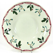 "Hartstone Pottery MISTLETOE & HOLLY 12.75"" Large Serving 1.5Qt Bowl Christmas"