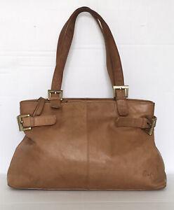 GIGI Soft Real Leather Distressed Style Tan Tote Slouch Shoulder Bag Handbag