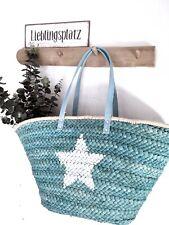 Boho Korbtasche Vintage Tasche Markttasche Korb Blau mit Stern NEU