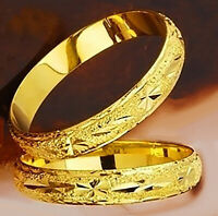 "24k Yellow Gold 7-1/2"" Bracelet Bangle Wide Italian Cut Women's Opening D257"