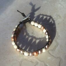 Pearl Bracelet Natural Multicolor Freshwater Pearl and Stone on Brown Leather