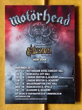 MOTORHEAD + SAXON 15x20 cm rare flyer mini poster UK tour hard rock 2013 punk