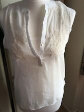 Bershka Off White Embroided Blouse Vest Top Size M Bnwt