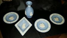5 WEDGWOOD BLUE JASPER WARE PIN DISHES AND VASE