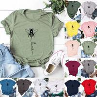 Womens Ladies Casual Cute Shirt Summer Tee Holiday Blouse Short Sleeve Bee Tops