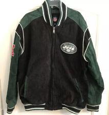 New York Jets NFL Mens Varsity Jacket Suede Leather Size 2XL
