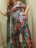 Vintage 1980's Funky Neon Tropical Floral Westbound Jumpsuit (S/M)