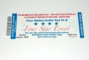 2008 DEMOCRATIC NATIONAL CONVENTION CONVENTION TICKET OBAMA campaign button