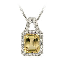 925 Silver 2.25ct Citrine and Diamond Accent Necklace