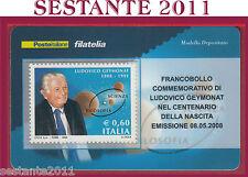 TESSERA FILATELICA FRANCOBOLLO COMMEMORATIVO LUDOVICO GEYMONAT 2008 M24