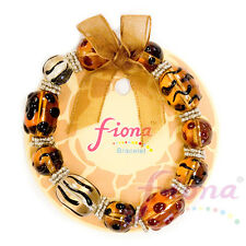 """Brown Leopard Animal Print Glass Bead Stretch Bracelet 7.50"""" New with Gift Bag"""