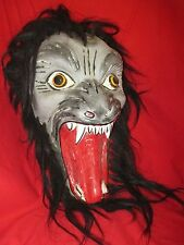 Mexican Folk Art Giant Howling Wicked Wolf With Wild Flowing Horsehair Mane