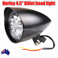 Black billet head light Harley sportster softail chopper bobber dyna  dot alloy