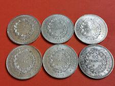 Lot 6 pièces argent 50 Francs Hercule an 1974 / 75 / 76 / 77 / 78 / 79 Lot n° 7