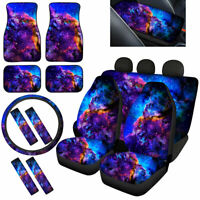 Blue Galaxy Car Seat Covers with Floor Mats,Steering Wheel Cover Seat Belt Pads