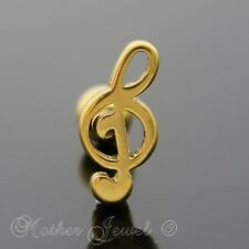 14K YELLOW GOLD IP SURGICAL STEEL TREBLE CLEF MUSIC CARTILAGE TRAGUS HELIX STUD