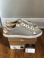 Christian Louboutin Seava Woman Flat Glittex Gold Sneakers Euro 39 Luxury Shoe