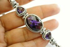 Purple Amethyst 3 Stone Balinese Sterling Silver Chain Toggle Bracelet