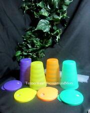 Tupperware New Rare 16 oz Impressions Tumblers Straw Seals Teal Purple Tangerine