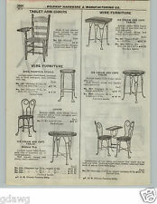 1922 PAPER AD Twist Wire Ice Cream Parlor Cafe Diner Furniture Table Chairs