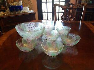 Berry, Dessert, Salad Set 7 Bowls Pink Purple Hydrangea Glass Indonesia
