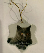 British Shorthair Cat Porcelain Star Shaped Christmas Ornament New