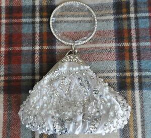 UK Silver Hand Beaded Diamonate Bangle Evening Prom Clutch Wedding Bag