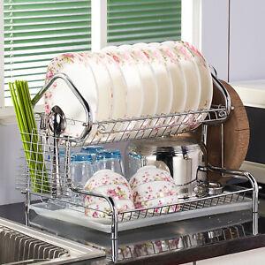 Kitchen Steel Dish Cup Drying Rack Drainer Dryer Tray Cutlery Holder Organizer ~