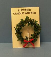 Dollhouse Miniature Handcrafted 12 volt Electric Holly & Pine Christmas Wreath