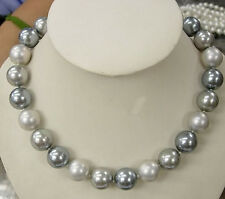"8MM Elegant South Sea Shell Pearl Round Beads Hand Knotted Necklace 18"" AAA"