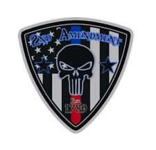 2nd Amendment Punisher Skull Sticker USA Flag Blue Line/Red Line Responder