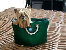 YORKIE IN SHOPPING BASKET YORKSHIRE TERRIER DOG FIGURE CASTLE GIFTS PUPPY TALES