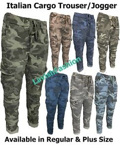 Italian Ladies Women Camouflage Soft Stretch Cargo Magic Trousers Joggers Pants
