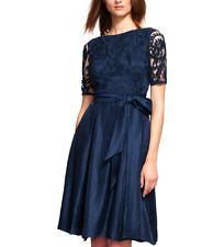 ADRIANNA PAPELL  LACE BODICE FIT FLARE NAVY DRESS sz 14 W