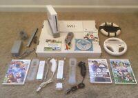 Nintendo Wii White Console +Wii Sports + Mario Kart 2 Controllers + 2 Nunchucks