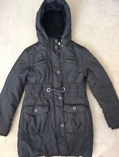 M&S - BLACK 3/4 JACKET WITH WAIST TIE PULL & HOOD WITH FUR LINING -SIZE 9-10y