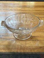 """Vintage Antique Cut Glass Oval Pedestal Fruit Bowl  Heavy  10.5"""" Long"""