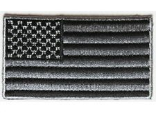 "(D27) 2"" x 1.4"" Small BLACK & GRAY US FLAG iron on patch (4945) Cap Hat"