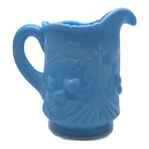 """Vtg LE Smith Wreathed Cherries Opaque Blue Slag Glass Pitcher Creamer 4-3/4"""" R1"""