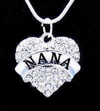 LOT 5pcs NANA Love Heart Crystal Charm Pendant Silver Chain Neckalce Jewelry