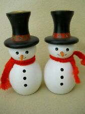 2 Adorable VIntage 1992 Hand Painted & Signed Snowman Christmas Candle Holders
