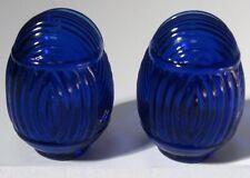 Glass classic bird cage feeders depression cobalt blue glass a pair 2 pieces