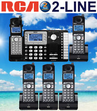 RCA 25252 DECT 6.0 2-LINE 5 CORDLESS PHONES WITH 2-LINE ANSWERING MACHINE NEW