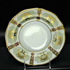 Faberge Gold, Enamel & Jeweled Salad Plate Limoges Porcelain China 24K Gold
