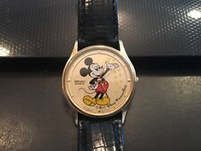 RARE Seiko Disney 32mm Mickey Mouse Watch,Genuine Teju Lizard Band